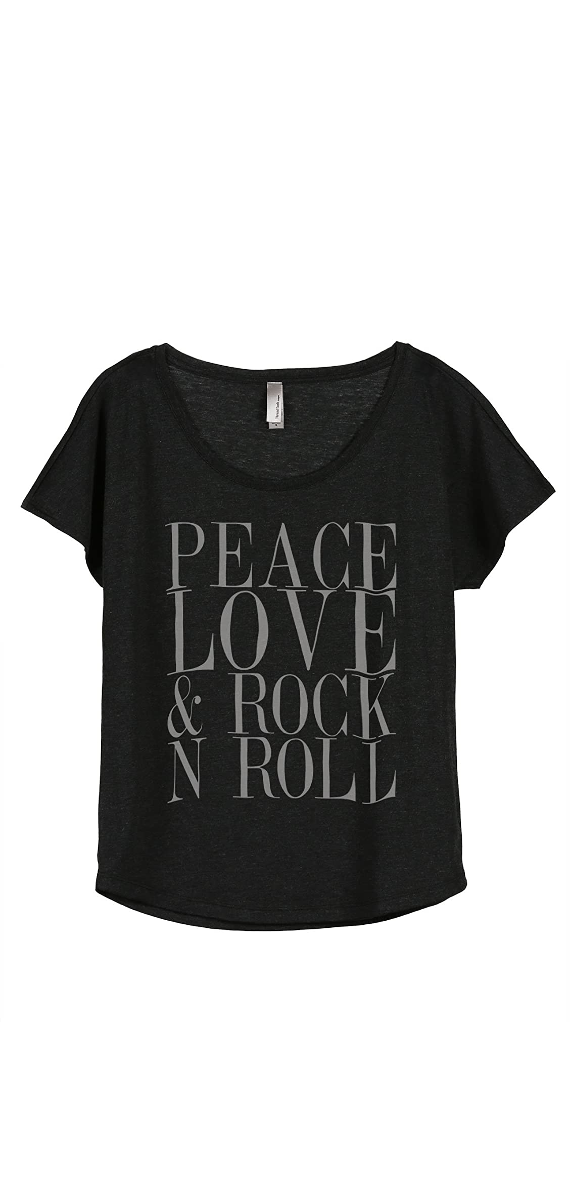 Peace Love And Rock 'n Roll Women's Fashion Slouchy Dolman Tee