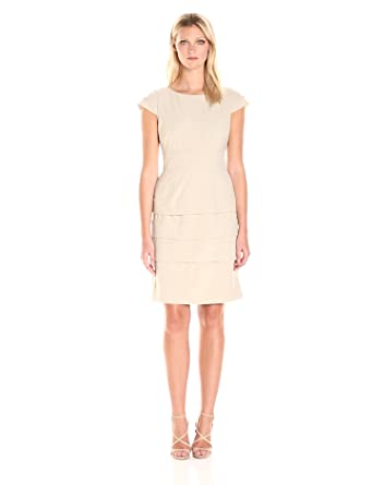 f56d3bd8 Tahari by Arthur S. Levine Women's Cap Sleeve Scuba Banded Dress, Oatmeal  Brown 12