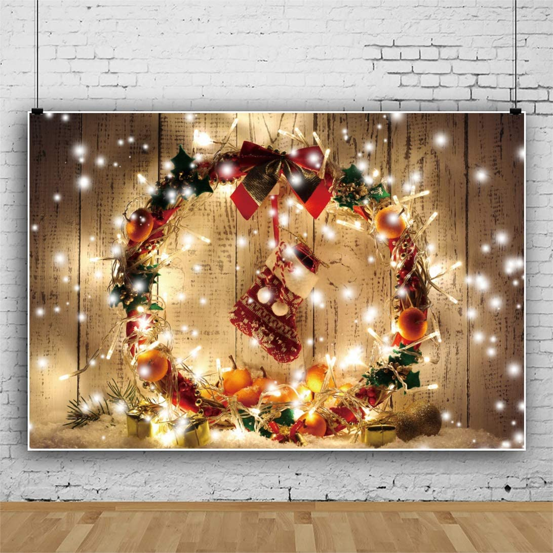 Yeele Christmas Wreath Backdrop 10x8ft Christmas Party Decoration Photography Background Xmas Party Decor Kids Acting Show Artistic Portrait Photo Booth Photoshoot Props Digital Wallpaper