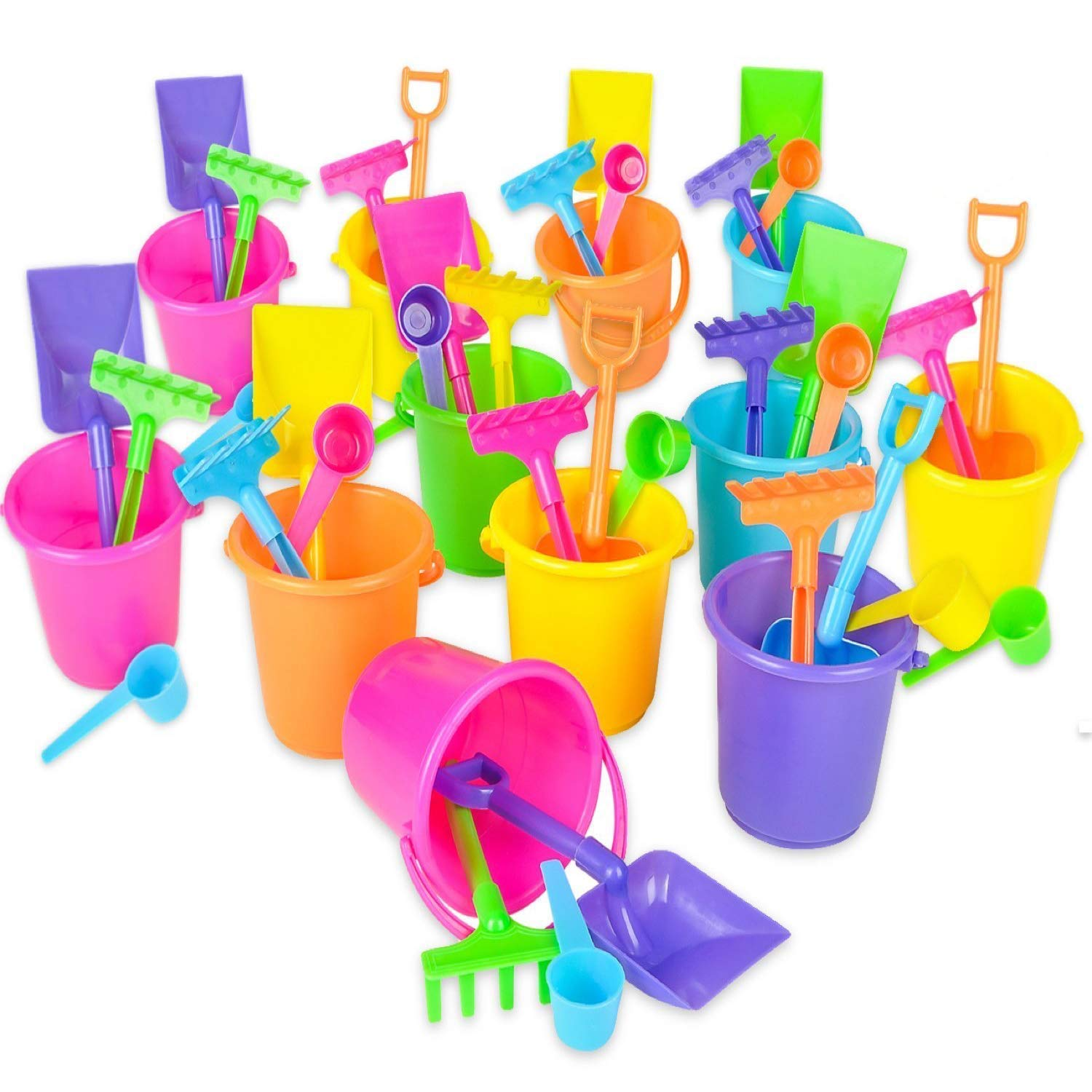 Mini Beach Bucket and Shovel Set - (Pack of 12) 3-1/4'' Mini Bucket Party Favor Sand Box Play Set and Mini Beach Sand Pail Includes, Shovel, Rake, Scoop Beach Sand Toy for Birthday Or Mermaid Theme by Bedwina