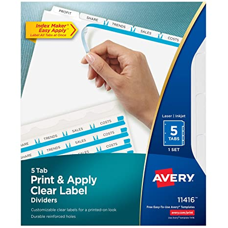 Amazon Avery 5 Tab Binder Dividers Easy Print Apply Clear