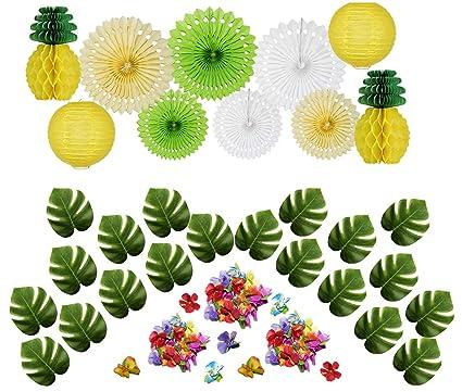 Amazon Com 50 Pcs Hawaiian Tropical Pineapple Luau Theme Party