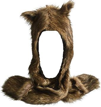 Honeystore Unisex Plush Earflap Cap Faux Fur Animal Hood Hat Scarf Gloves  Combo Brown 3b309a44976