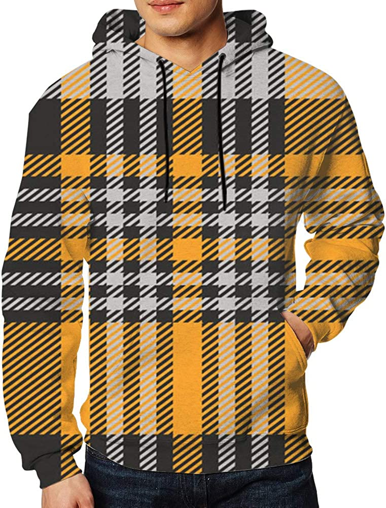 Plaid Check Shades Grey Orange Mens Sweaters Fashion Hoodies Sweatshirts Pullover
