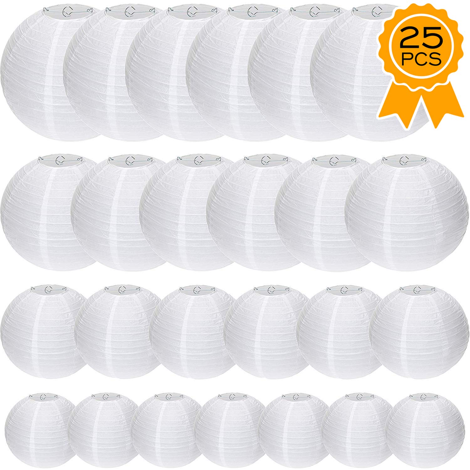 Special Feelings 25 Pack White Paper Lanterns Set (Assorted Sizes of 6, 8, 10, 12 Inch) for Weddings Birthday Parties, Baby Showers, Classroom Decoration and More and More,