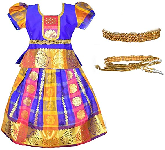 Amirtha Fashion Girls Traditional Lehenga Choli MADHURA CHILD PATTU WITH WAIST BELT (HWBM) Girls' Lehenga Cholis at amazon