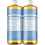 Dr. Bronner's - Pure-Castile Liquid Soap (Baby Unscented, 32 ounce, 2-Pack) - Made with Organic Oils, 18-in-1 Uses: Face, Hai