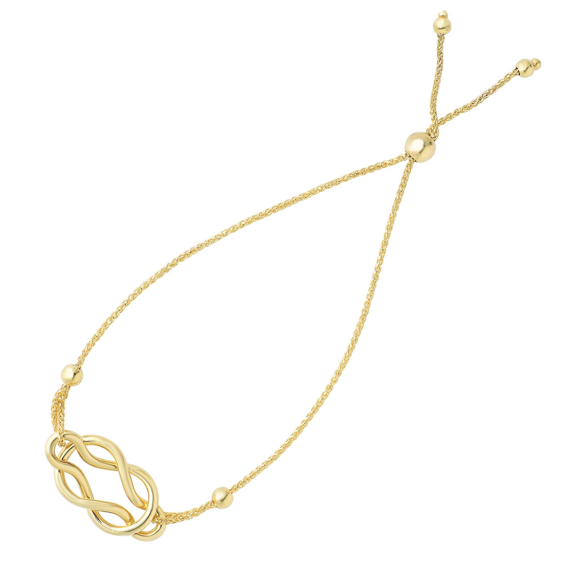 Celtic Knot Center Element Bolo Friendship Adjustable Bracelet In 14K Yellow Gold, 9.25''