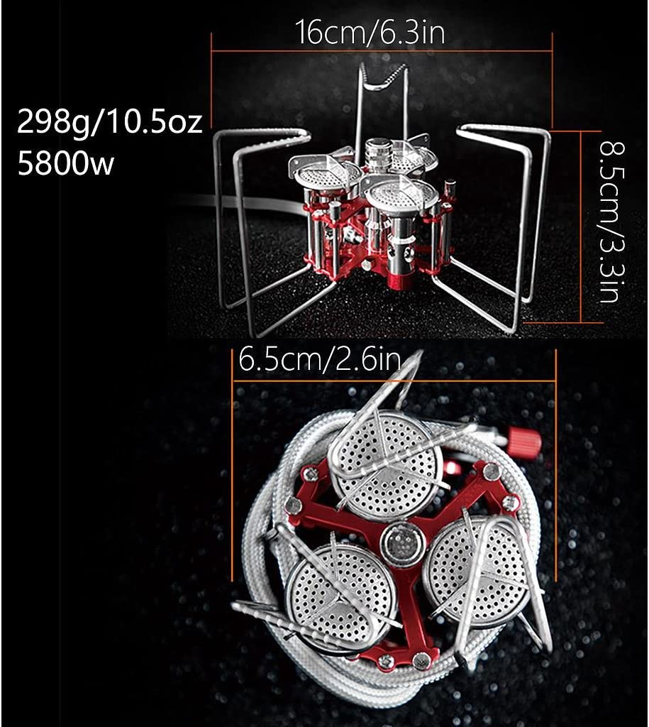 Bulin Camping Stove Cooking Gas Stove 3 Burners High Power 5800W