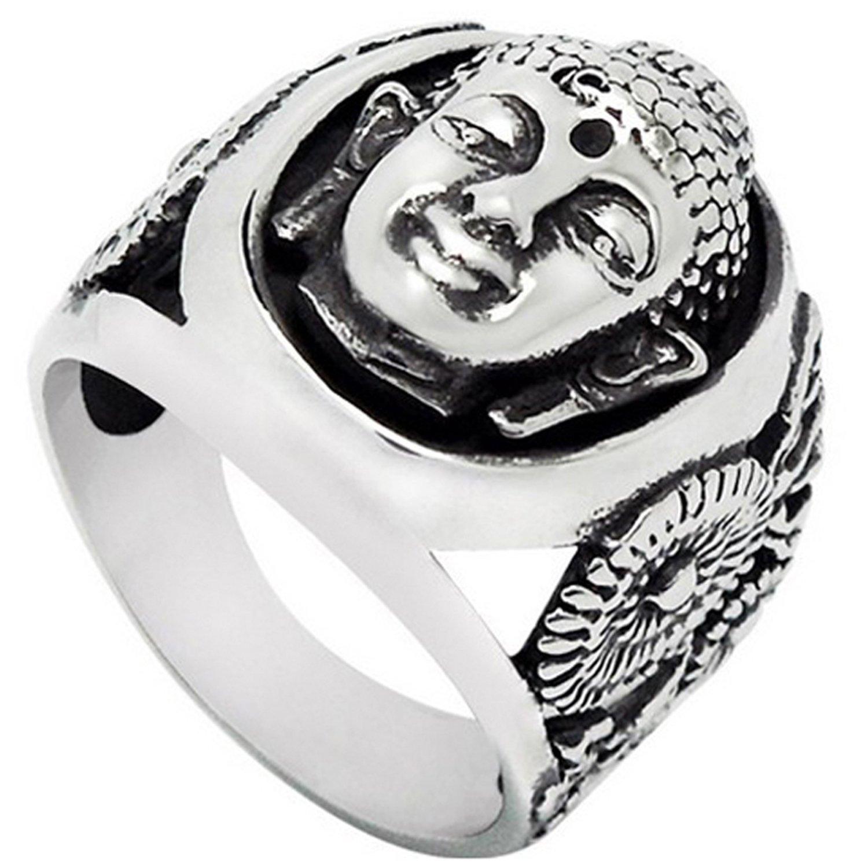 Ring Edelstahl Meditierender Buddha Wide Cast Buddhismus silber Herren Damen