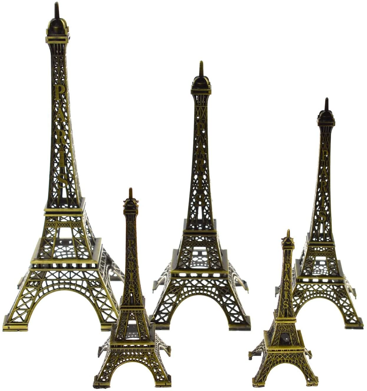 DerBlue 5pcs Eiffel Tower Statue, Metal Paris Eiffel Tower Decor Figurine Replica,Drawing Room Table Decor Stand Holder for Cake Topper,Gifts,Party and Home Decoration