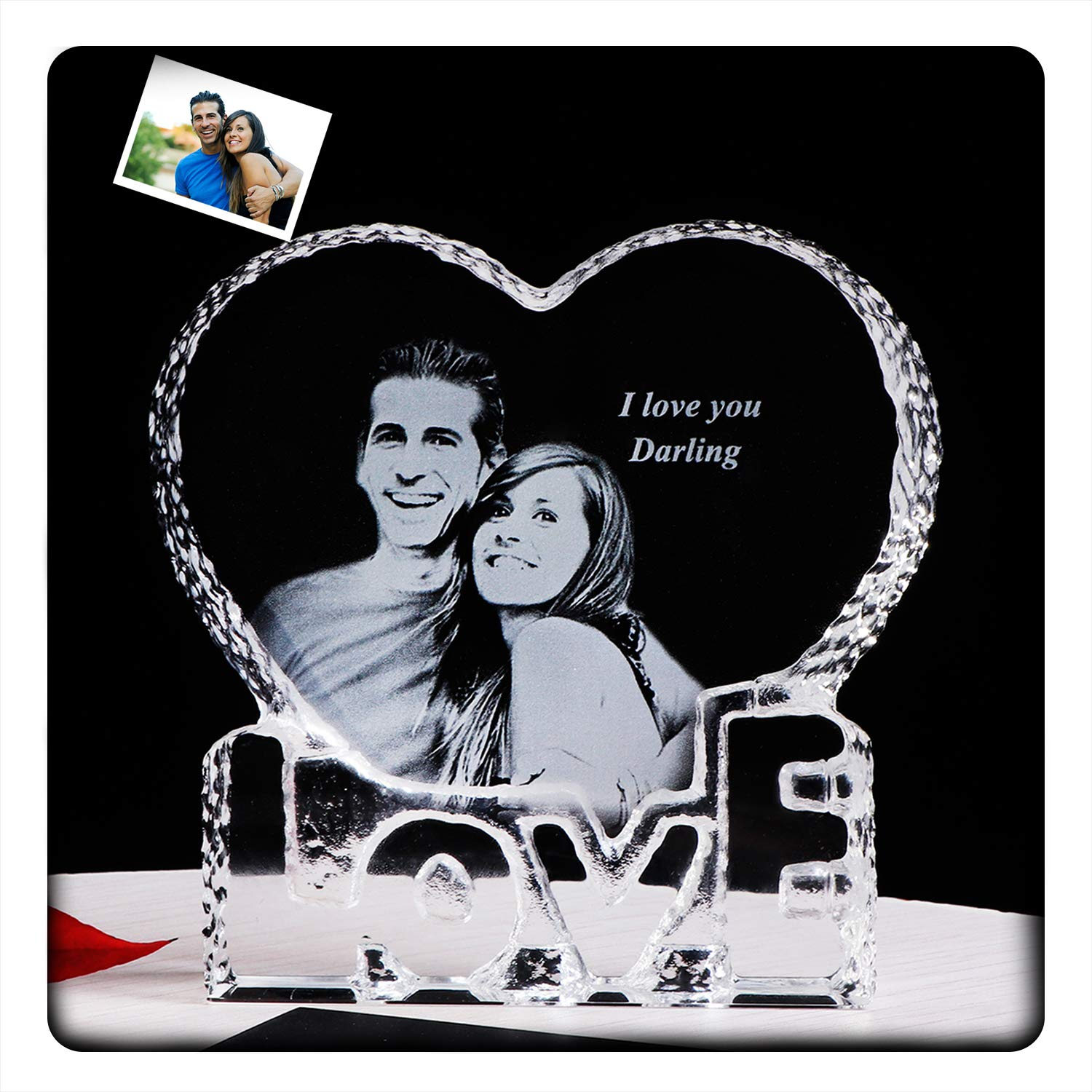YWHL Personalized Customized Crystal Photo Picture 2D Etched Engraved Wedding Memorial Wife Girlfriend Birthday Gifts for Anniversary Her Him Husband Boyfriend (Customized) by YWHL