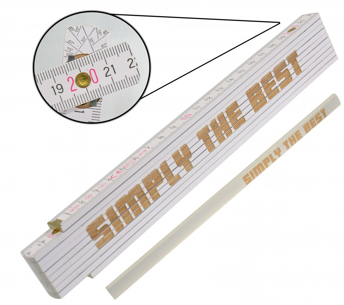 /Ruler /& Professional Carpenters Pencil Set with Laser Engraved Special Day Fathers Day Birthday Grandad Slogan Text of Your Choice /Also for the Tradesman/ Souvenir/ /German Brand/ / Ruler/