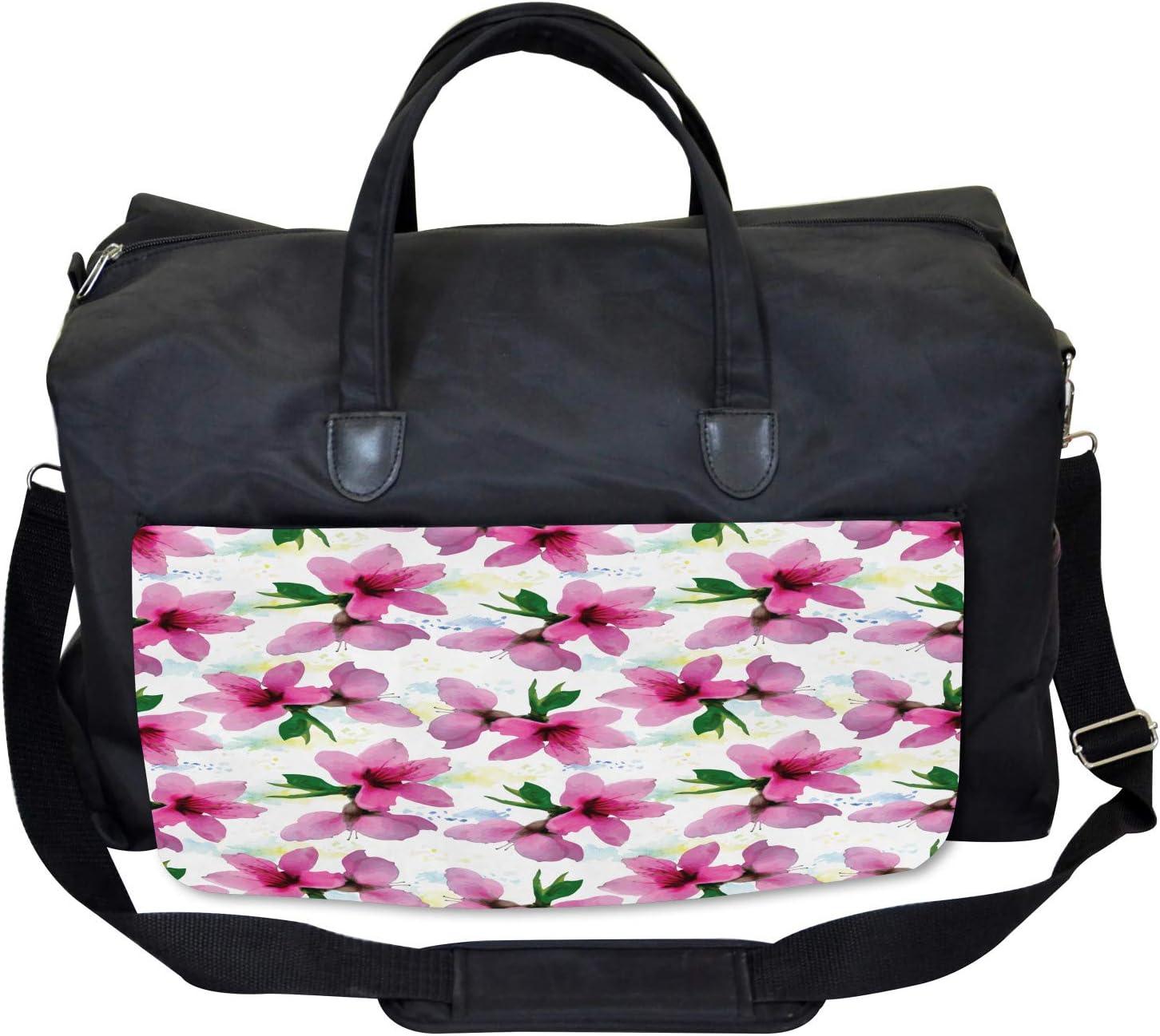 Ambesonne Floral Gym Bag Petals Botany Essence Large Weekender Carry-on