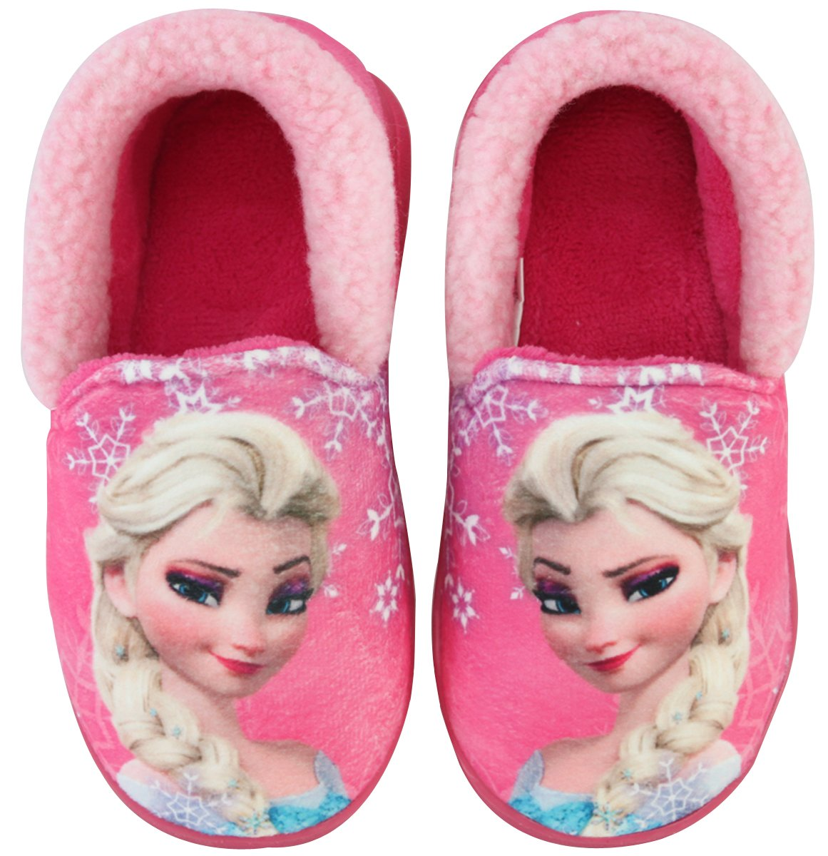 Joah Store Slippers for Girls Disney Frozen Elsa Girls Warm Fur Comfort Indoor Shoes (8 M US Toddler, Frozen Elsa_C)