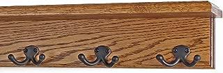 "product image for Oak Shelf Coat Rack with Aged Bronze Double Style Hooks (Chestnut, 16"" with 3 hooks)"