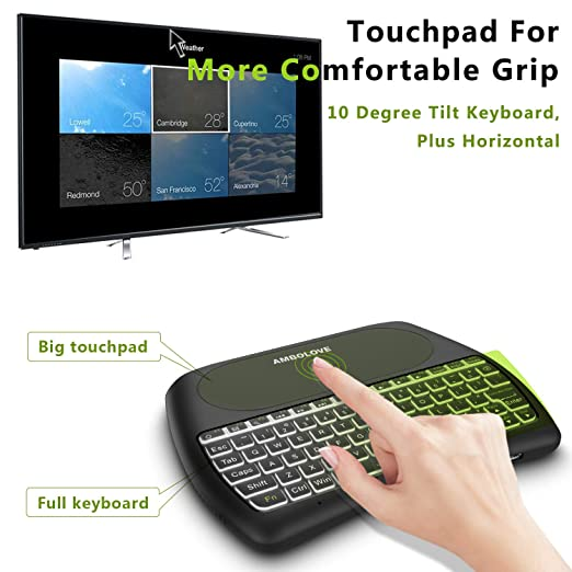 Amazon.com: Wireless Mini Keyboard with Touchpad Mouse and Multimedia Keys, 2.4GHZ Portable USB Rechargable Li-ion Battery Remote Keyboard Support Smart TV ...