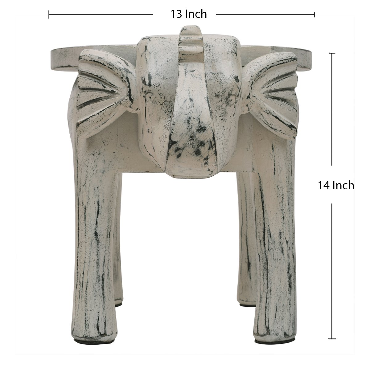 Wooden Side Table End Table Round Bedside Sofa Stool White Distressed Finish Elephant Head Design Home Kids Room Furniture Shabby Chic Decor - 18 x 13 x 14 inches by Store Indya (Image #7)