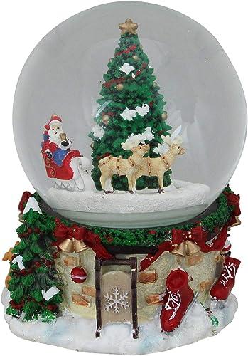Northlight 7 Musical and Animated Santa on Sleigh Rotating Christmas Snow Globe