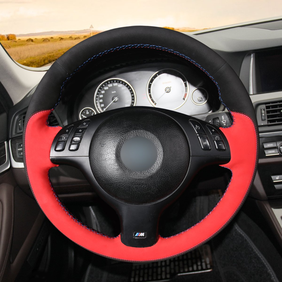 MEWANT Customized Hand Stitched Suede with Leather Steering Wheel Cover Wrap for BMW E46 E39 330i 540i 525i 530i 330Ci M3 2001 2002 2003 Accessories Skins Protector Auto Interior Light Blue Marker