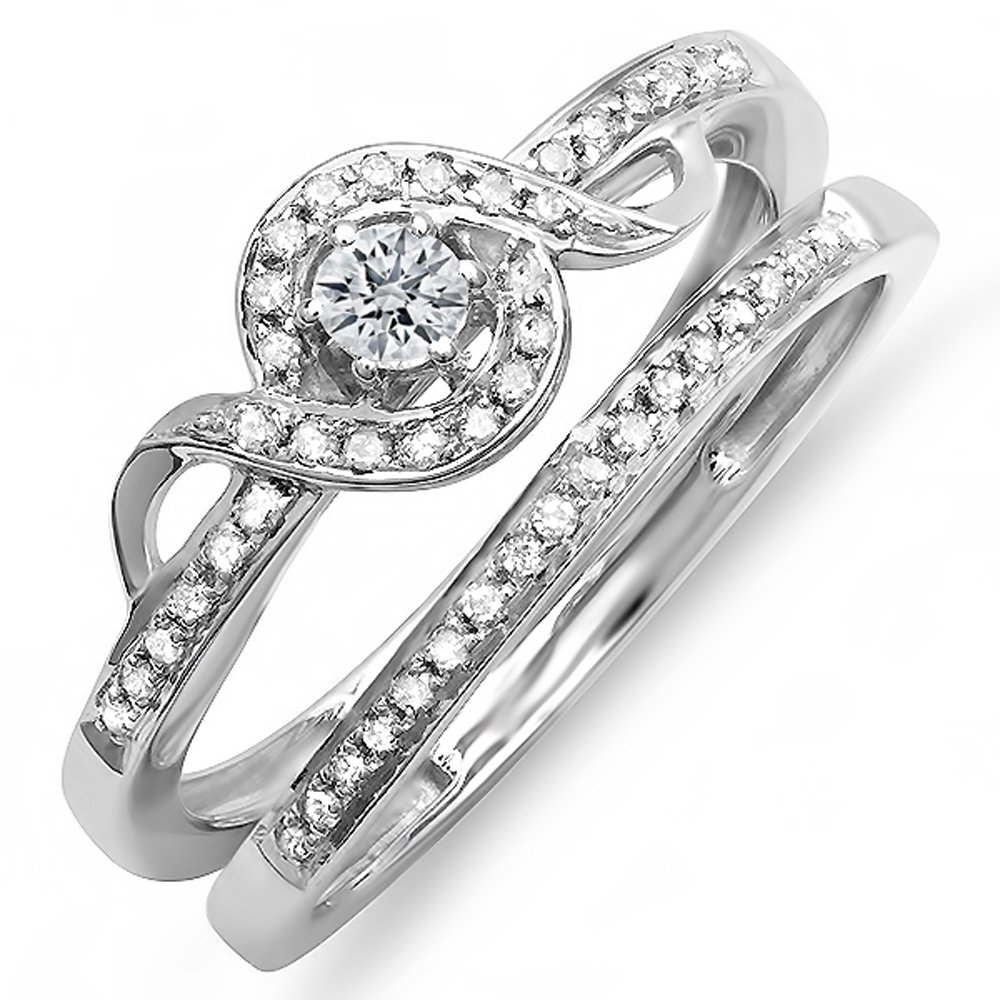 Dazzlingrock Collection 0.25 Carat (ctw) Sterling Silver Round Diamond Ladies Bridal Promise Ring Set Matching Band 1/4 CT, Size 8