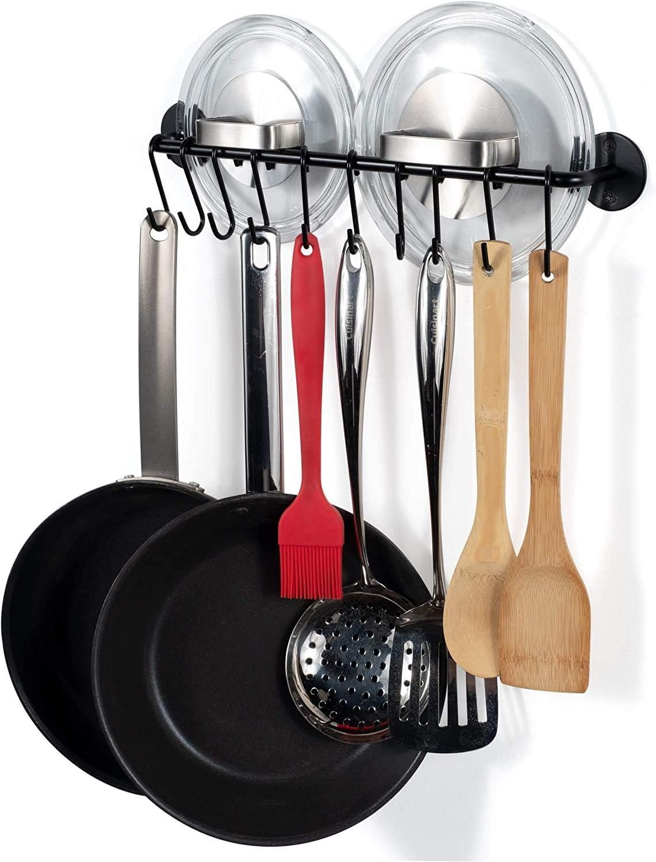 "Niskari Gourmet Kitchen Rail Pot Pan Lid Organizer Rack with 10 Hooks Black 16/"" Inch"