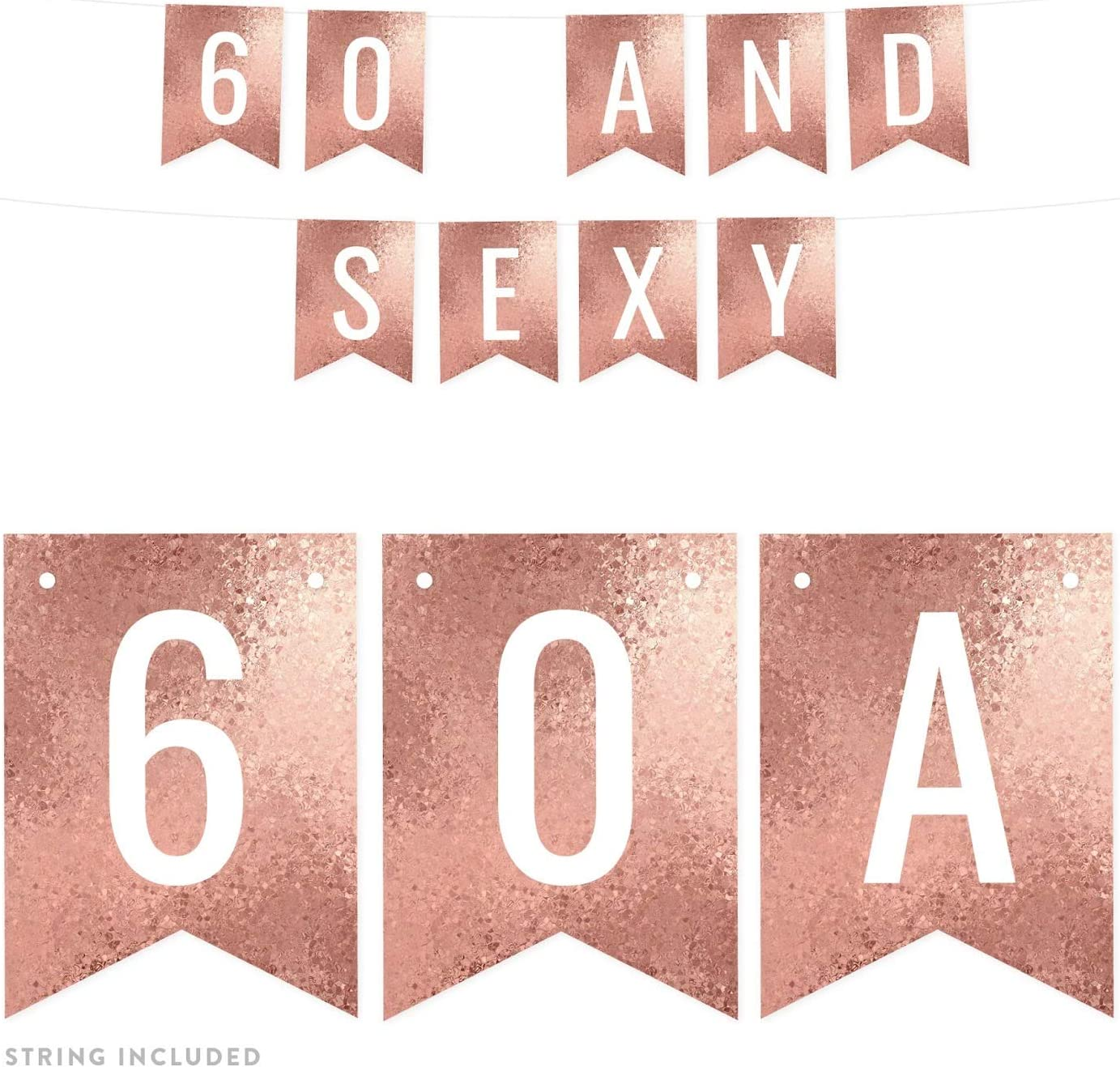 Andaz Press Rose Gold Glitter Mosaic Birthday Party Banner Decorations, 60 and Sexy, Approx 5-Feet, 1-Set, 60th Birthday Milestone Colored Hanging Pennant Decor