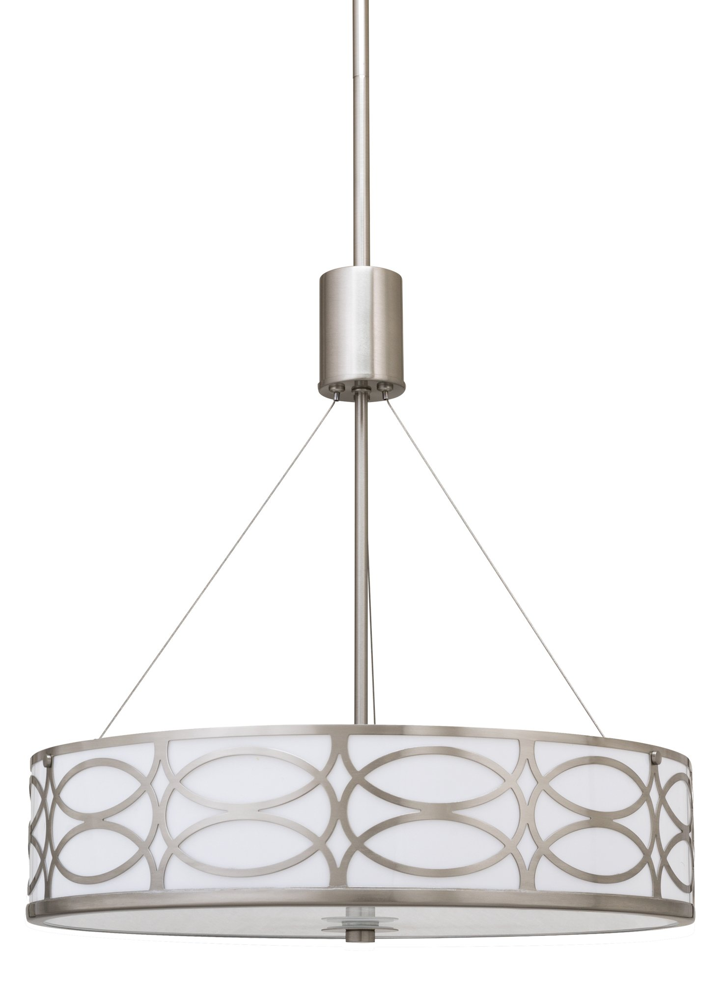 "Sienna 18"" 3 Light Metal Drum Chandelier Brushed Nickel Finish"