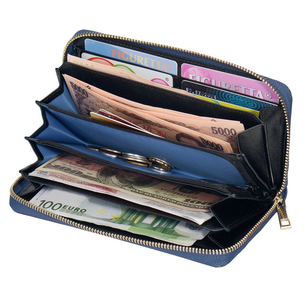 f9fc1b9ff817b COCASES Damen Geldbörse XXL Größe aus weichem Kunstleder mit RFID Schutz  und Schlaufe Dunkelblau  Amazon.de  Koffer