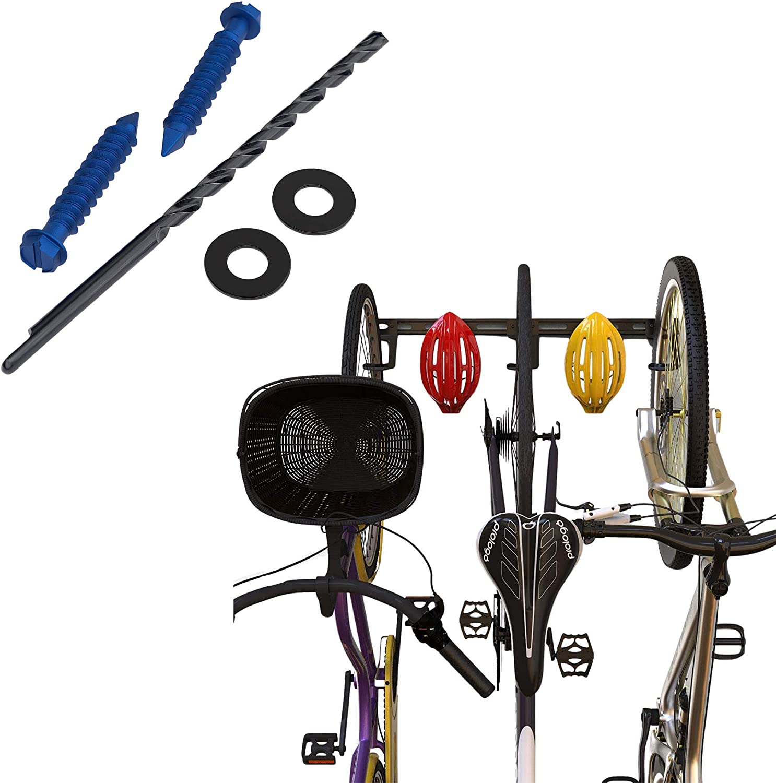 KOOVA 벽 마운트 자전거 스토리지 랙 3 자전거 및 헬멧 벽돌 하드웨어