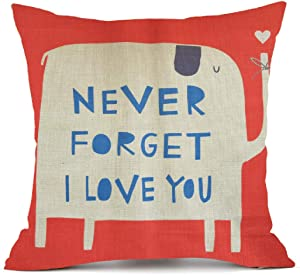 NYKKOLA Animal Style Lovely Cartoon Red Elephant Pass Love Letters Sofa Simple Home Decor Design Throw Pillow Case Decor Cushion Covers Square 1818 Inch Beige Cotton Blend Linen