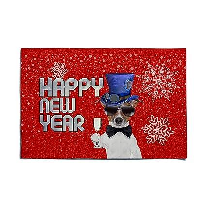 Amazon Com Felt Doormat Cute Dog In Top Hat Wish Happy New Year