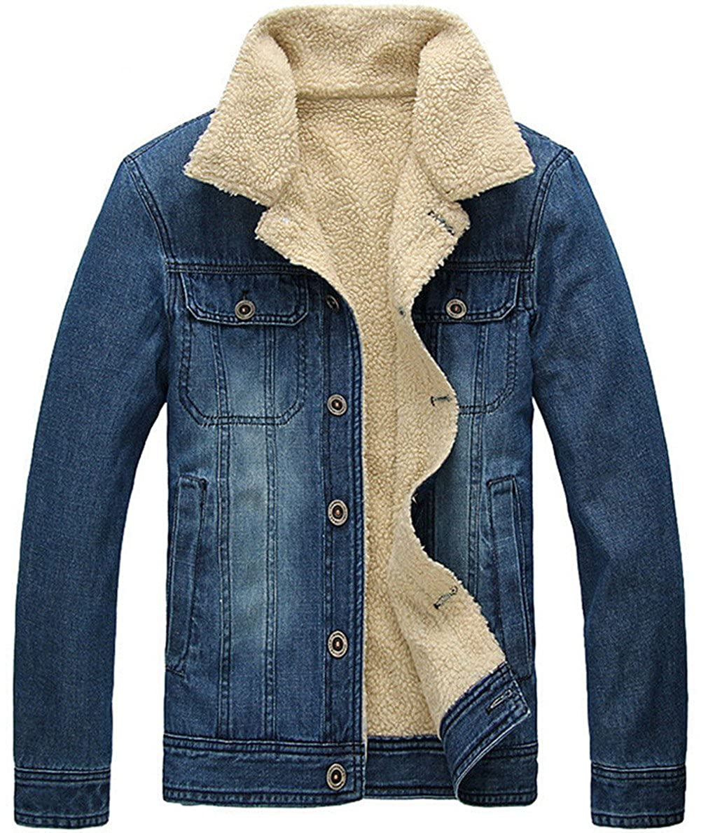 JEWOSOR Men's Outdoor Plus Velvet Winter Warm Denim Jacket Outwear Parka Fit Coat JK8355
