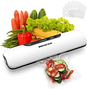 INNOWEIGH Vacuum Sealer Machine Portable Automatic Food Saver, Dry & Moist Food Modes with 10 Vacuum Sealer Bags Mental Gray Food Fresh Keeper, Compact Design Easy to Clean ,Two Modes