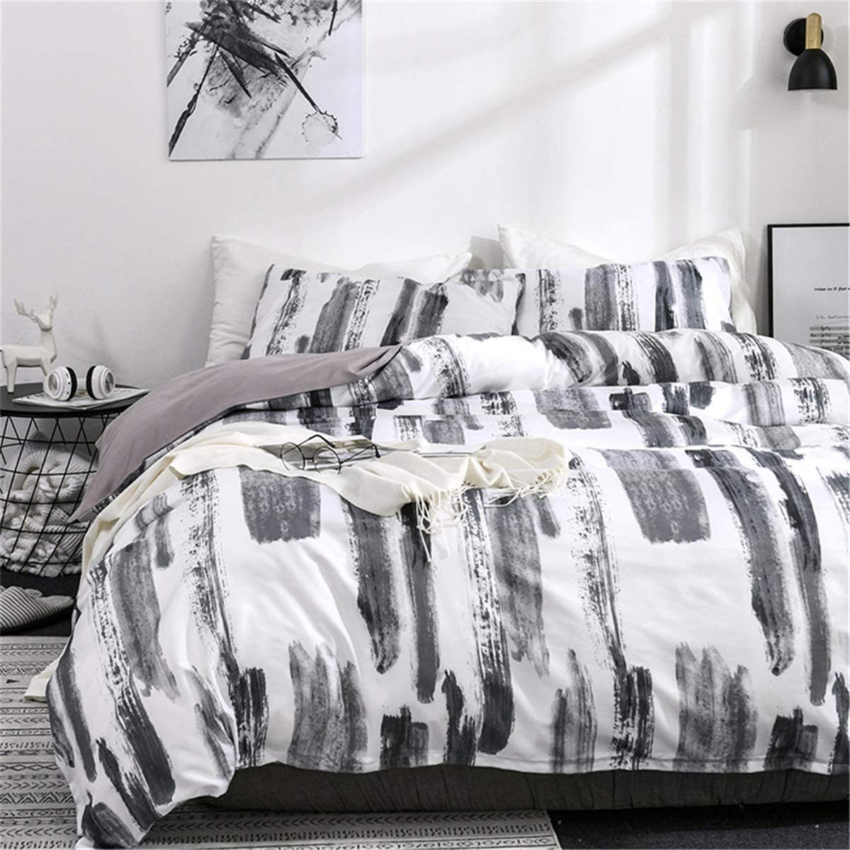 ADASMILE A & S Black and White Ink Bedding Cover Set Graffiti Chinese Art Abstract Duvet Cover 3 Pieces,1 Duvet Cover with 2 Pillow Shams, No Comforter,Full