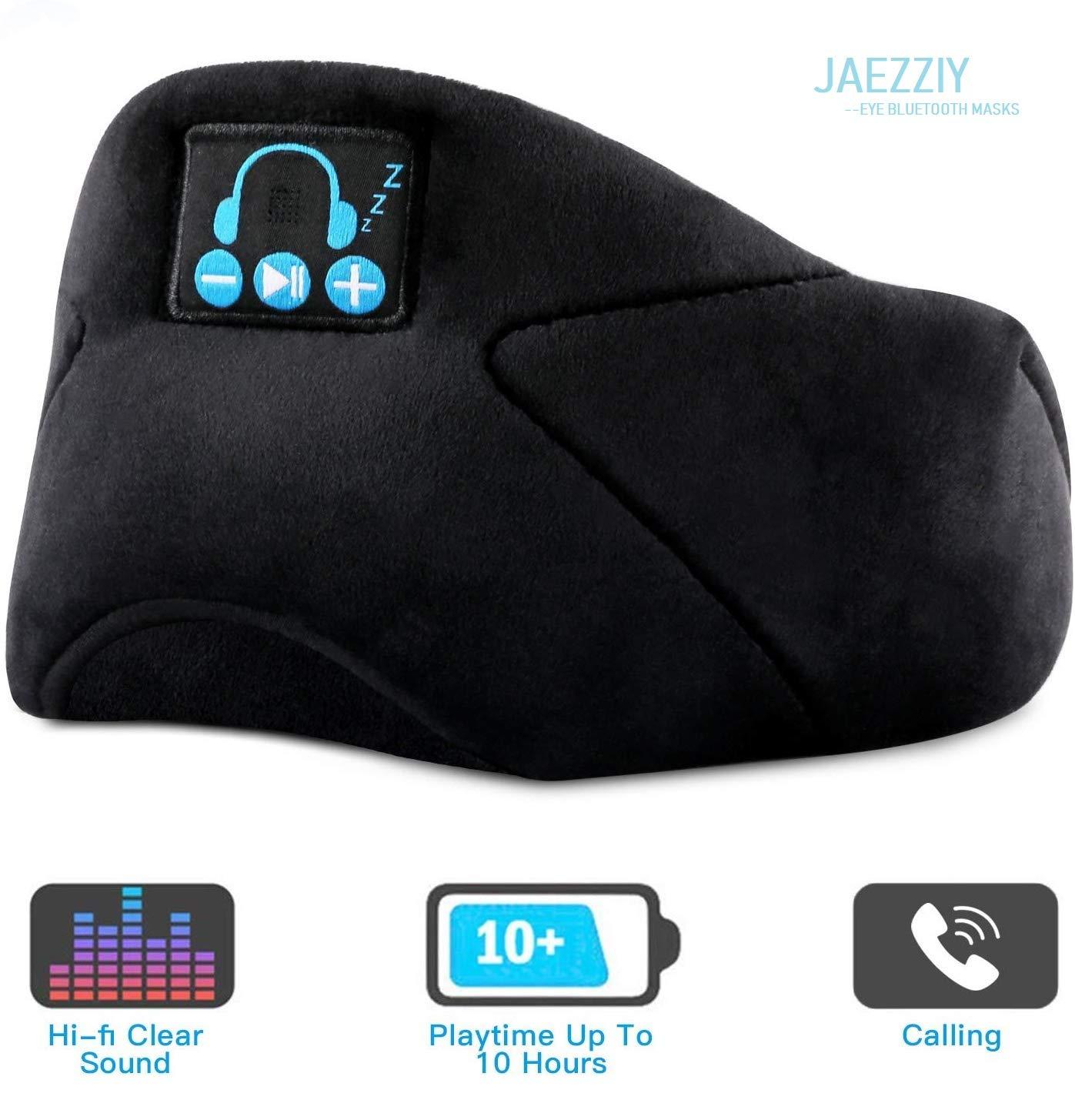 Sleep Headphones Bluetooth Eye Mask, JAEZZIY 3D Bluetooth 5.0 Wireless Sleep Mask,Washable Adjustable Travel Music Handsfree Sleeping Headset with Built-in HD Speaker and Micro for Side Sleepers