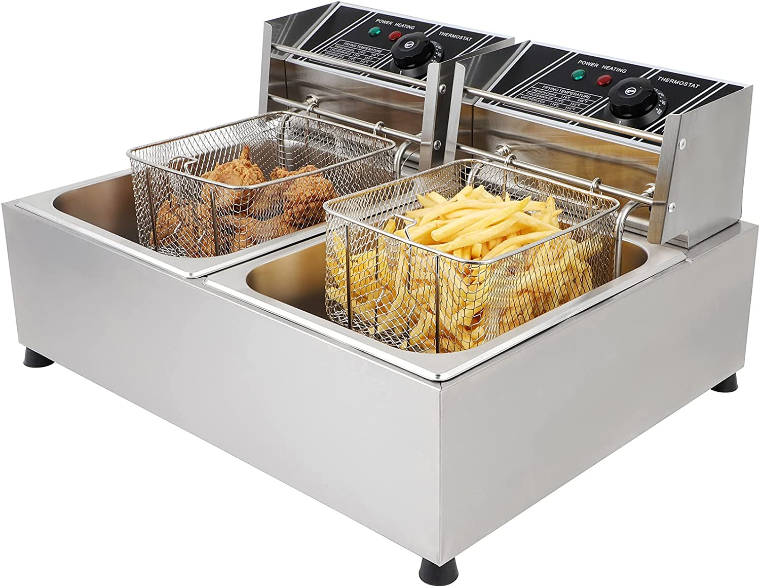 12.7QT/12L Electric Deep Fryer 5000W Dual Tank Stainless Steel Countertop Commercial Restaurant Adjustable Temp Time with 2 Removable Baskets