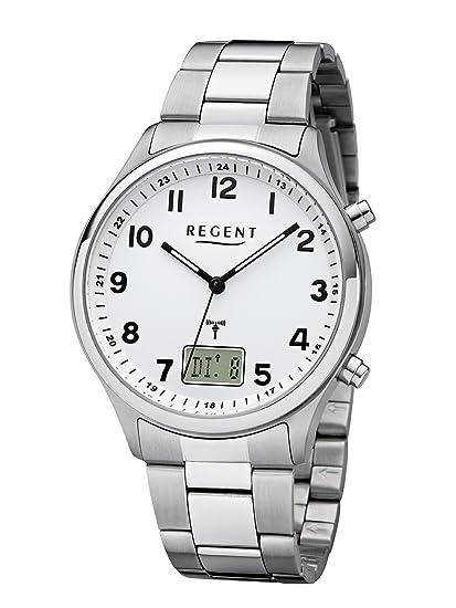 Regent - Reloj de pulsera hombre radio reloj de acero inoxidable analógico digital cuarzo correa de acero de plata BA 444: Amazon.es: Relojes