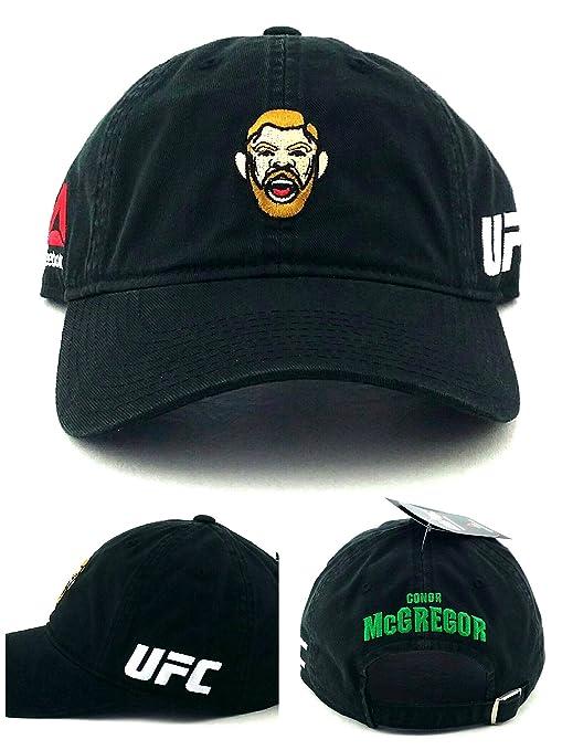 2190807e2e407 Reebok UFC New MMA Conor McGregor Head Character Black Dad Era Strapback  Hat Cap