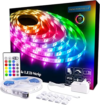 Pangton Villa Led Strip Lights 16 4ft Rgb 5050leds Color Changing Full Kit With 24key Remote Control And Power Supply Mood Lamp For Room Bedroom Home