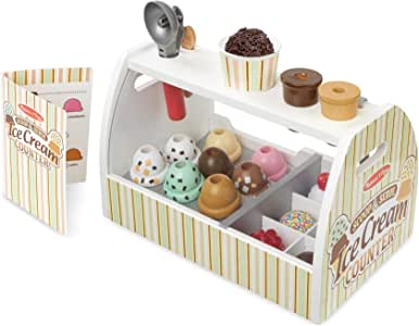 Melissa & Doug Wooden Scoop and Serve Ice Cream Counter (20 pcs) - Play Food and Accessories