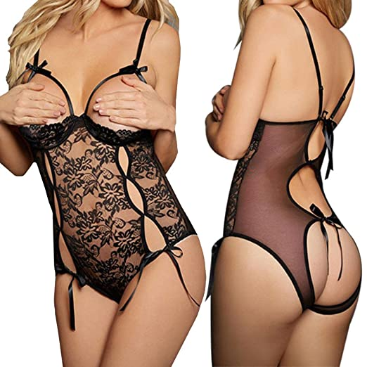 03d148a27 Howstar Women s Sexy Babydoll Bodysuit Lace Open Cup Lingerie For Sex  Underwear Nightwear (S