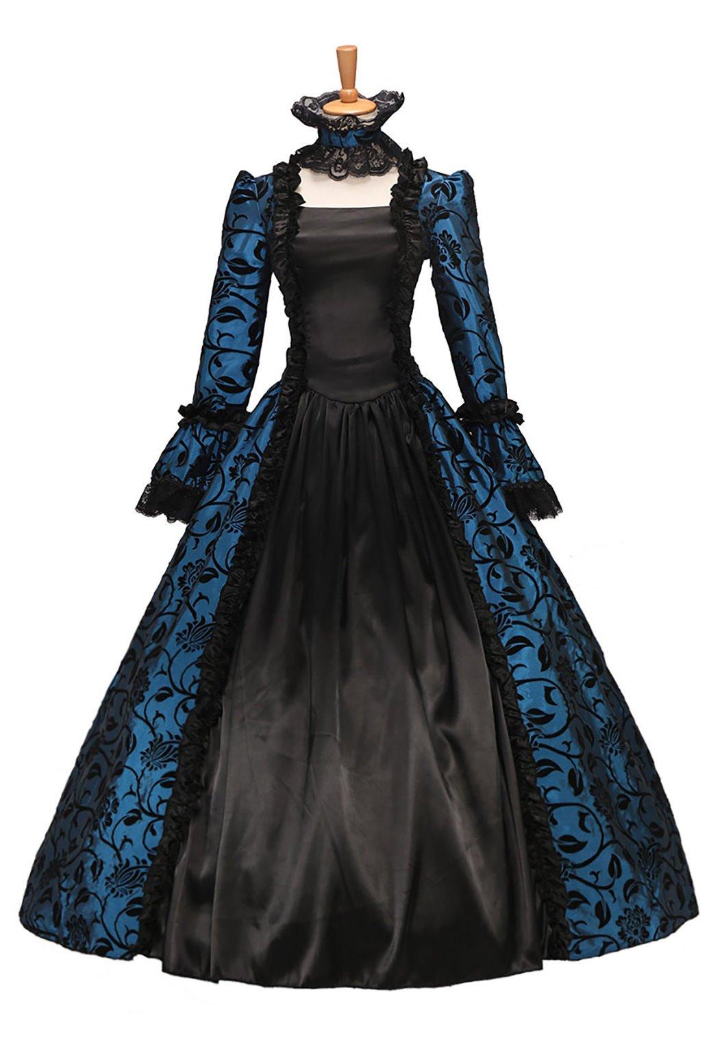 XOMO Victorian Gothic Satin Ball Gown Wedding Dress Georgian Period Blue Custom Made