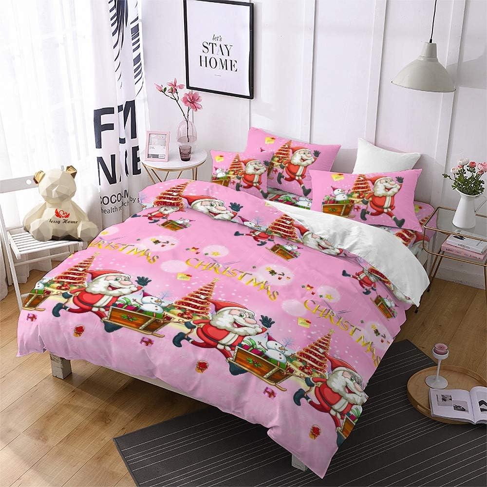 Christmas Duvet Cover Full Size,Pink 3D Bedding Santa Cluas Home Decor Gifts for Girls Kids
