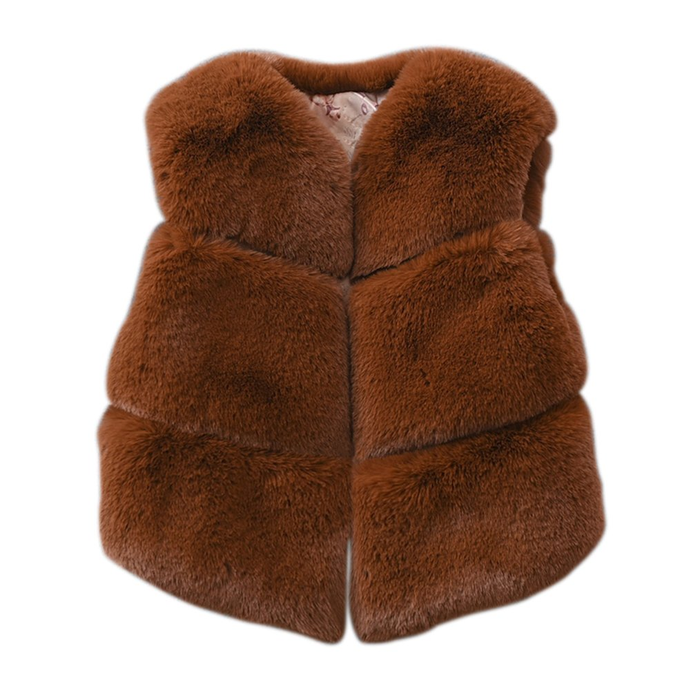 Per Baby Girls Faux Fur Vest Warm Waistcoat Sleeveless Jacket Autumn Winter Coat
