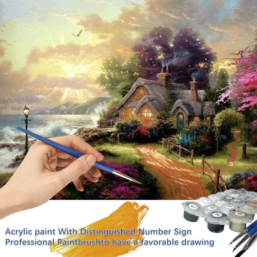 C, 16x20 Paint by Number Kits Canvas DIY Oil Painting Kids Adults Beginner with Brushes Christmas Decor Decorations Gifts