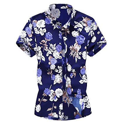 Amazon.com: YKARITIANNA Summer New Men Casual Summer Printed Button Short Sleeve Hawaiian T-Shirt Top Blouse