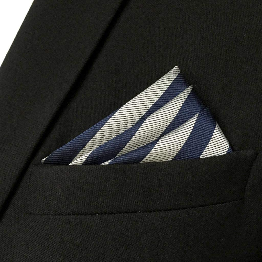 S/&W SHLAX/&WING Herren Einsteckt/ücher Suit Jacket Blau Grey Streifen