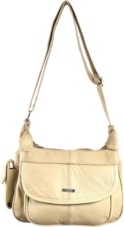 Black // Brown // Fawn // Tan // Beige Ladies Leather Shoulder Bag Handbag with Mobile Phone Pocket.