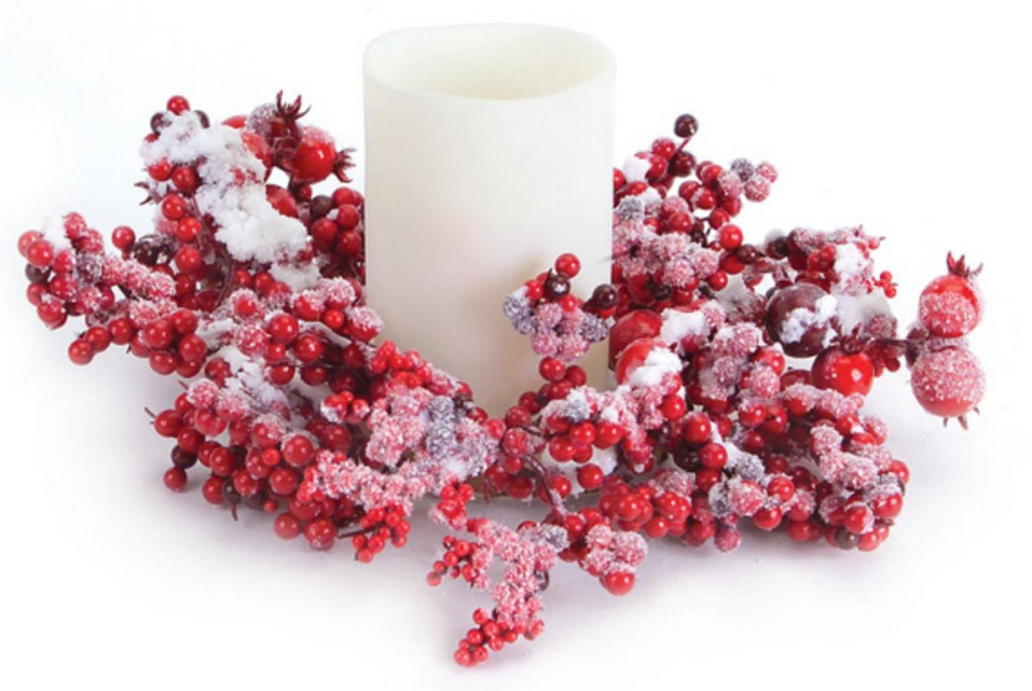 Club Pack of 12 Artificial Red Mixed Berry Christmas Pillar Candle Rings 10'' by Melrose